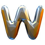 Capital latin letter W in low poly style gold color isolated on white background Royalty Free Stock Image
