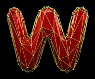 Capital latin letter W in low poly style red and gold color isolated on black background. 3d vector illustration