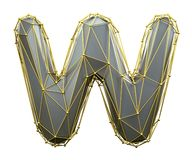 Capital latin letter W in low poly style silver and gold color isolated on white background. 3d royalty free illustration