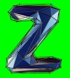 Capital latin letter Z in low poly style blue color isolated on green background. 3d rendering vector illustration
