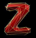 Capital latin letter Z in low poly style red and gold color isolated on black background. 3d stock illustration