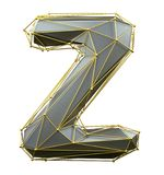 Capital latin letter Z in low poly style silver and gold color isolated on white background. 3d vector illustration