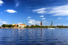 Capital of Latvia Panorama of Riga in the summer Stock Photography