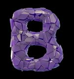 Capital letter B made of broken plastic purple color isolated on black background. 3d rendering Stock Photo