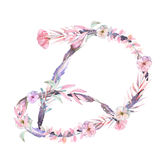Capital letter D of watercolor pink and purple flowers royalty free illustration