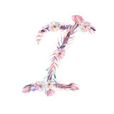 Capital letter I of watercolor pink and purple flowers Stock Photo