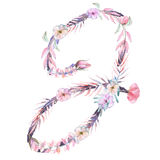 Capital letter J of watercolor pink and purple flowers. Isolated hand drawn on a white background, wedding design, english alphabet for the festive and wedding stock illustration
