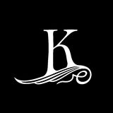 Capital Letter K for Monograms, Emblems and Logos. Beautiful Filigree Font. Stock Photography