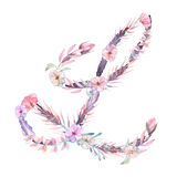 Capital letter L of watercolor pink and purple flowers stock illustration