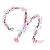 Capital letter N of watercolor pink and purple flowers royalty free illustration
