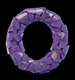Capital letter O made of broken plastic purple color isolated on black background. 3d rendering Royalty Free Stock Photos