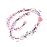 Capital letter O of watercolor pink and purple flowers Royalty Free Stock Photos