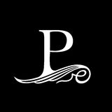 Capital Letter P for Monograms, Emblems and Logos. Beautiful Filigree Font. Royalty Free Stock Photography