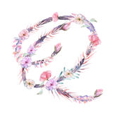 Capital letter Q of watercolor pink and purple flowers vector illustration