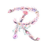 Capital letter R of watercolor pink and purple flowers Stock Photo