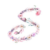 Capital letter S of watercolor pink and purple flowers stock illustration