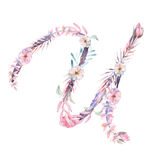 Capital letter U of watercolor pink and purple flowers royalty free illustration