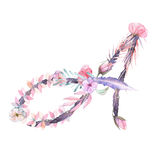Capital letter A of watercolor pink and purple flowers stock illustration
