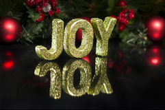 In capital letter written joy, glitter effect Stock Images