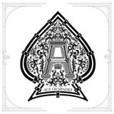 Capital lettern A in middle foral pattern inside ace of spades form. Vintage design playing card element. Black on white vector illustration