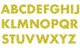 Capital letters of the English alphabet. Capital letters of the English alphabet, painted with a colorful background with hearts.Template for design, fabric Stock Image