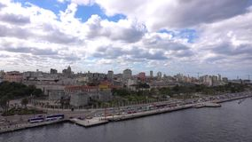 The capital of Liberty Island, Cuba - Havana. This is a view of the Old Havana from the cruise ship! You will see all the most beautiful places in the city stock footage