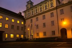Capital of Lithuania. Night views. Lithuania, Vilnius - September 5, 2017: Capital of Lithuania. Night views of old city and narrow streets of medieval fortress stock photography