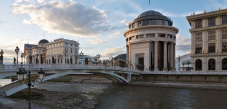Capital of Macedonia in downtown Skopje. Archaeological Museum of Macedonia and Bridge of the Civilizations in downtown of Skopje Stock Photo