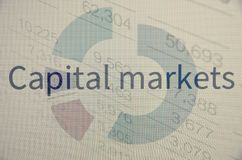 Capital markets. Financial data on a pc monitor Stock Images