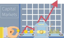 Capital markets money financial trading graphic to. Ols icons flat design illustration in vector Royalty Free Stock Images