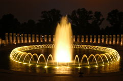 Capital memorial. The World War Two memorial at night in Washington DC Royalty Free Stock Images