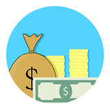Capital money icon. Financial budget, banknote and income, success account app icon. Vector illustration Stock Photography