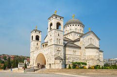 Cathedral of the Resurrection of Christ in Podgorica. Capital of Montenegro is Podgorica. View of the Cathedral of the Resurrection of Christ, landmark Royalty Free Stock Photo
