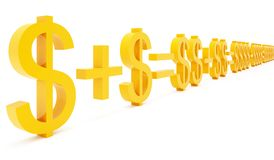 Capital multiplying. Yellow symbols on white background Stock Image