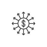 Capital outflow line icon Royalty Free Stock Photography