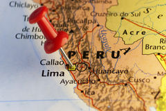 Capital of Peru, Lima pinned map Stock Images