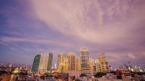 The capital of the Philippines is Manila. Makati city. Beautiful sunset with thunderous powerful clouds.