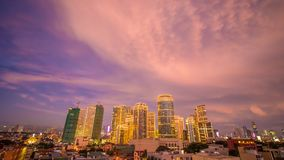 The capital of the Philippines is Manila. Makati city. Beautiful sunset with thunderous powerful clouds. The capital of the Philippines is Manila. Makati city royalty free stock photo