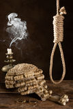 Capital punishment. Symbolized with judge's wig and noose Stock Photography
