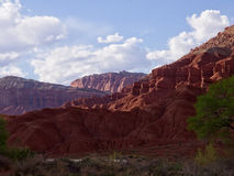 Capital Reef Cliffs Along the Drive. The Burr Trail takes the traveler into some of Utah`s most beautiful and extraordinary country.  Drive through Glen Canyon Stock Photos