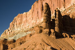 Capital Reef sandstone formations. View of sandstone formations along the scenic drive in Capital Reef National Park Stock Image