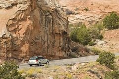 Capital Reef visitiors 1. A tourist travels the scenic byway along the Fremont River valley in Capital Reef National Park Royalty Free Stock Photos