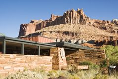 Capital Reef Visitors Center 3. The Visitors center at Capital Reef National Park with The Castle, a red sandstone formation in the background. Utah 2007 Stock Photo