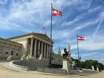 Vienna - one of the Europe`s most visited cities - parliament, statue pallas athena, goddes. Capital of the Republic of Austria and one of Europe`s most visited royalty free stock photo