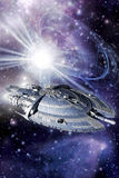 Capital spaceship. With supernova 3D render royalty free illustration