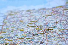 Madrid, Spain on the map royalty free stock photography