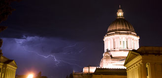 Capital Storm Lightning Hits Behind Olympia Dome Royalty Free Stock Images