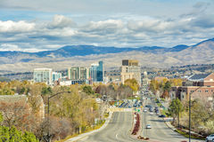 Capital street in Boise Idaho and foot hills Stock Photo
