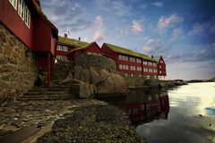 The capital of Torshavn in the Faore Islands Stock Photos
