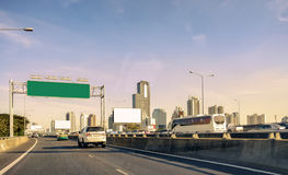 Capital urban bangkok with building tower on bridge expressway Royalty Free Stock Image